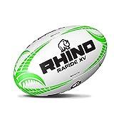 Rhino Rapide XV Ballon de Rugby Blanc/Vert Taille 4