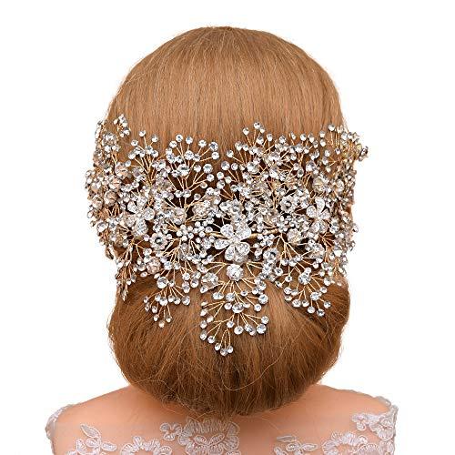 TOPQUEEN Hochzeit Blume Braut Haarschmuck Kristall Stirnbänder Haarband Diadem Tiara