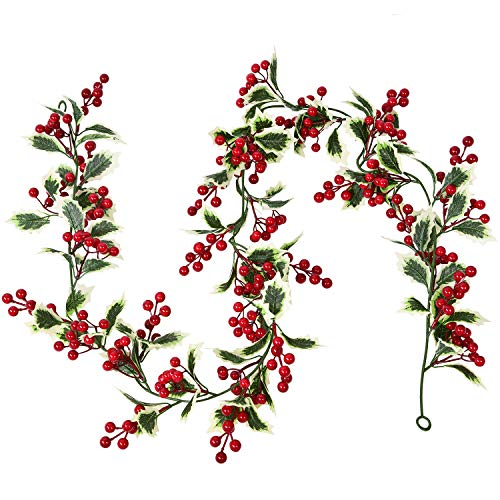 Lvydec Red Berry Garland Christmas Decoration - 5.8ft Artificial Greenery Garland with Red Berries and Holly Leaves for Holiday Fireplace Mantel Table Home Decoration