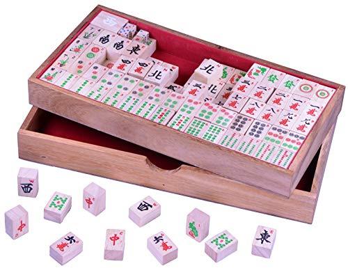 LOGOPLAY Mayong - Mahjong - Mah Jongg - Mahjongg - Legespiel - Gesellschaftsspiel aus Holz mit 144 Spielsteinen