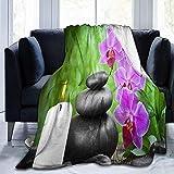 Amanda Walter Fotografía de Flores Orquídea Piedras de bambú Vela SPA Manta de Franela Manta Suave y cómoda de Micro vellón Manta de sofá Acogedor Manta de Tiro