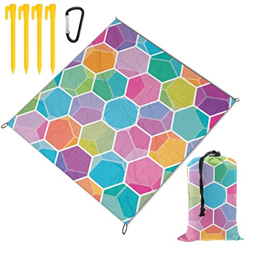 Best Prices! Hucuery Picnic Blanket 59 X 57 in Color Seamless Honeycomb Pattern Foldable Waterproof ...
