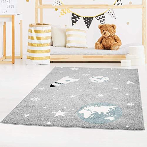 Kinderteppich Bubble Kids Flachflor Weltall Rakete Sterne in Grau Blau für Kinderzimmer: Größe 140x200 cm
