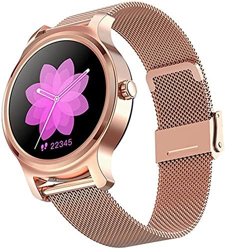Reloj inteligente bluetooth llamada de negocios pantalla táctil sueño monitoreo podómetro recordatorio pulsera de fitness femenino para los android-Steelpink