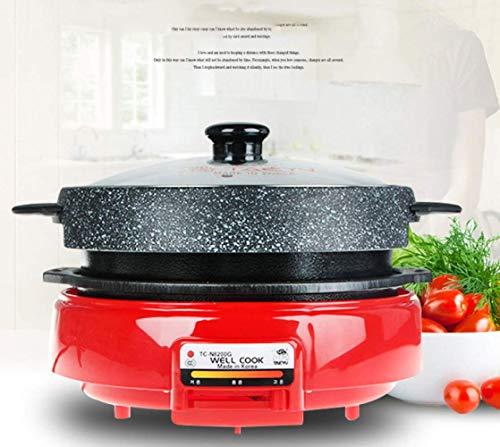 Elektrische grill multifunctionele elektrische Hot Pot anti-aanbaklaag en geen olie rook grill braadpan combinatie pannenset 1500 W toepasbaar aantal 3-4 personen (rood)