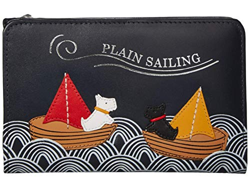 Radley Leather Medium Zip Top Purse Plain Sailing in Navy Blue
