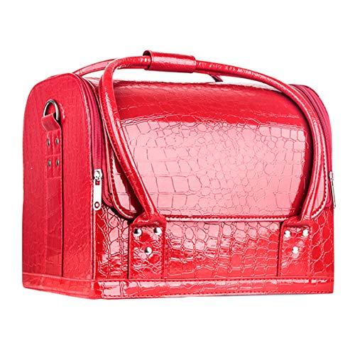 Make-up-tas, 3-laags, cosmetica-organizer met schouderriem en verstelbare scheidingswanden, multifunctionele tas voor cosmetica en sieradenborstels