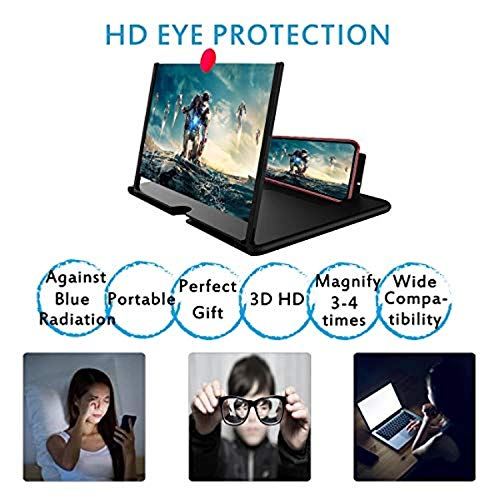 Plutonic Newly Upgraded 12 inch 3D Phone Screen Magnifier, HD Mobile Phone Screen Amplifier, Anti-Radiation Eye Protection Mobile Movie Video Enlarger with Foldable Stand Holder, for All Smart Phones