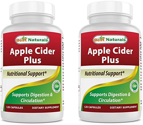 Best Naturals Apple Cider Vinegar Plus 500 Mg 120 Capsules - Vinegar Capsules for Healthier Digestion, Cleanse Body Naturally (Pack of 2)