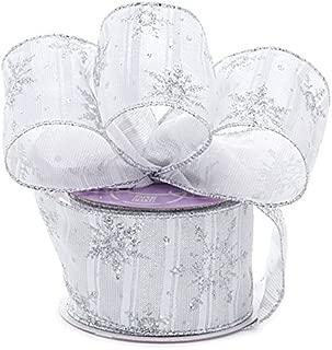 White Silver Snowflake Christmas Ribbon - 2 1/2
