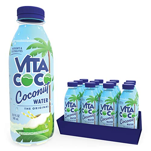 Vita Coco Coconut Water, Pure | Natural Hydrating Electrolyte Drink | Smart Alternative To Coffee, Soda, & Sports Drinks | Gluten Free | 16.9 Oz Slim Bottle (Pack Of 12)