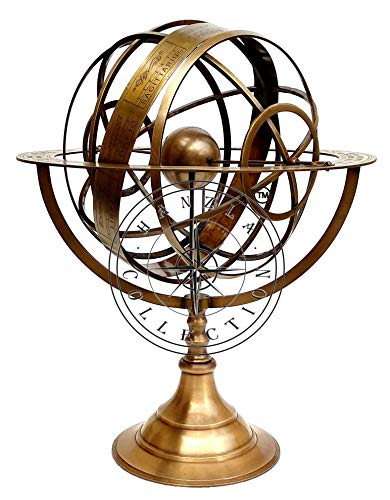 Hanzla Collection 18' Large Fully Brass Armillary Sphere Engraved Nautical Astrolabe World Globes