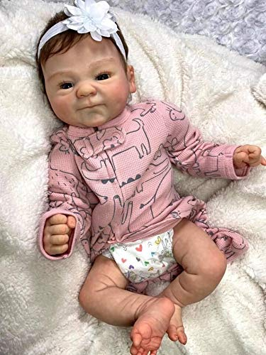 ROSHUAN Newborn Doll 18 inch Lifelike Reborn Baby Dolls Realistic Baby Reborn Dolls with Beautiful Outfit Accessories Best Xmas Festival Gifts Sets for Kids Age 3+