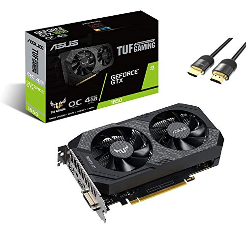 ASUS TUF Gaming GeForce GTX 1650 OC Graphics Card 4GB 128-Bit GDDR6 PCIe 3.0 HDCP Ready IP5X Dust Resistance 1x DVI-D 1x HDMI 2.0b 1x DisplayPort 1.4 w/ Mytrix HDMI 2.1 Cable(4k@120Hz/8K@60Hz)