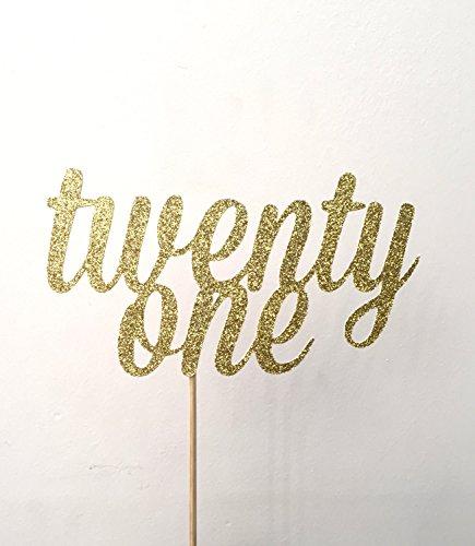 qidushop 21gold Glitzer Twenty One Tortenaufsatz 21. Birthday Cake Topper Zwanzig First Birthday Cake Topper für Girl 21. Tortenaufsatz für Jungen Geburtstag Geschenk