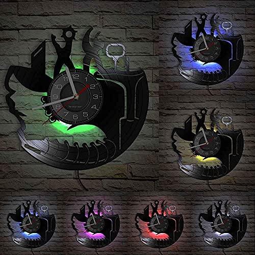 TJIAXU Disco de Vinilo Reloj de Pared Zapatero Reparación de Zapatos Tema Artesanía Reloj Zapatero Reparador Regalo Decoración del hogar