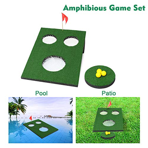 OOFIT Amphibious Golf Green Floating Backyard Pool Game, Chipping Cornhole Game Board with Chipping Mat for Indoors, Outdoor,Backyard and Tailgate