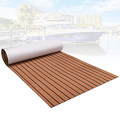 """SINNSIDELIN Boat Flooring EVA Non-Slip Marine Carpet Teak Decking Sheet 94.5""""× 35.4"""" Bevel Edges for Boat,Yacht Floor, Swimming Pool"""