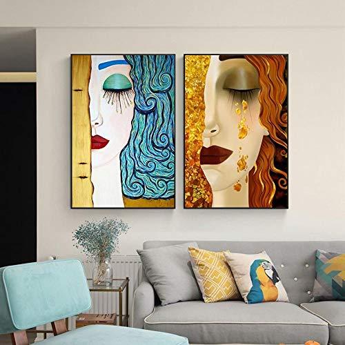 Cuadros de pared para sala de estar Póster de lienzo abstracto Kiss Tear de Gustav Klimt Pinturas de lienzo famosas Decoración de arte moderno 62x85cm (25x34in) x2 Marco interior