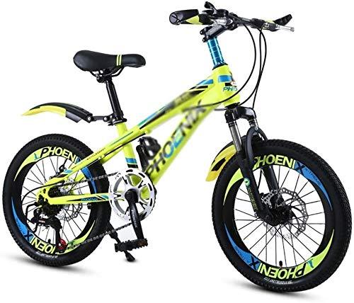 Xiaoyue Vélos Vélo 18 Pouces Écoliers 20 Pouces garçon et Fille extérieure vélo Alpinisme VTT à Vitesse Variable vélo adapté for Les étudiants lalay (Color : Yellow, Size : 20inches)