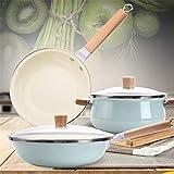 SuDeLLong Juego de Utensilios de Cocina antiadherentes Estufa Cocina Ollas y Pan Set Cerámica Juego de Utensilios for el Gas Cocina de inducción 3 Piezas (Color : Blue, Size