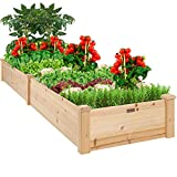 Best Choice Products 96x24x10in Outdoor Wooden Raised Garden Bed...