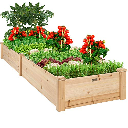 Best Choice Products 8x2ft OutdoorWooden Raised Garden Bed Planter for Grass, Lawn, Yard - Natural