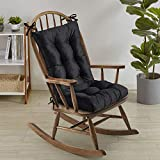 Sweet Home Collection Rocking Chair Cushion Premium Tufted Pads Non Skid Slip Backed Set of Upper and Lower with Ties, 21' X 17'/17' X 17', Black