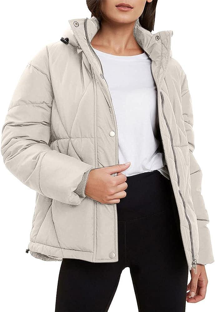 Women's Puffer Short Jacket Zipper Up Winter Warm Oversize Hooded Cropped Puffer Jacket Coat