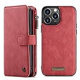 Haiqing 14 ranuras para tarjetas multifuncionales de 2 pulgadas – 1 diseño desmontable delgado trasero de piel sintética funda cartera compatible con iPhone 13 Pro Max 2021 (6.7 pulgadas) (color rojo)