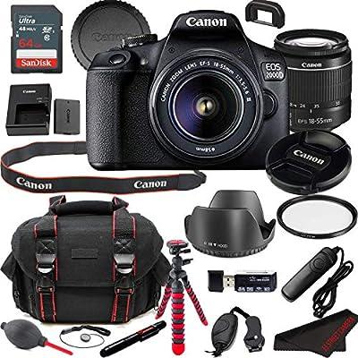 Canon EOS 2000D (Rebel T7) DSLR Camera Bundle + 18-55mm Lens | Built-in Wi-Fi|24.1 MP CMOS Sensor |DIGIC 4+ Image Processor and Full HD Videos + 64GB Memory (19pcs) by Canon Intl.