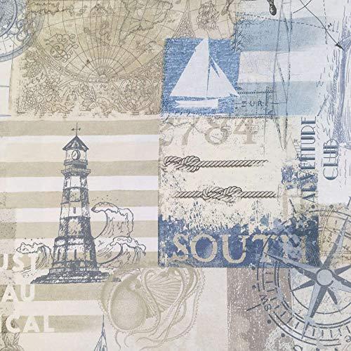 Tela por metros de loneta estampada digital - Half Panamá 100% algodón - Ancho 280 cm - Largo a elección de 80 en 80 cm   Motivos marineros - Beige, marrón, azul