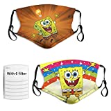 Anime Kids Washable Reusable Soft Sponge-Bob Face Mask with filther Balaclava Adjustable Protective Cover for Boys Girls 2pcs