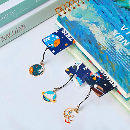 20 Pieces Space Theme Inspirational Quotes Bookmarks with Metal Charms School Classroom Prize Reading Party Favors Presents for Kids Boys Girls Adults Photo #4
