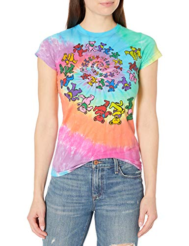 Liquid Blue Women's Grateful Dead Spiral Bear Rainbow Tie Dye Graphic Tee, Large
