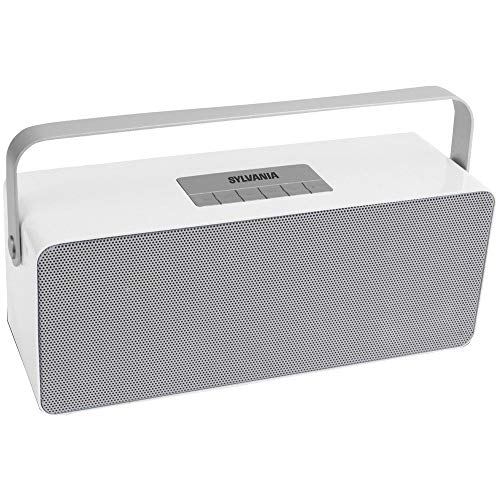 Sylvania SP672 Portable Bluetooth Speaker with Aluminum Handle (White), 10.70in. x 5.30in. x 5.20in.