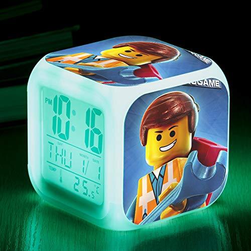 Zhuhuimin wekker van film, digitaal, voor kinderkamer, 7 kleuren, led-flitslicht, wekker, 7 heldere kleuren, kleine bureaulamp