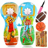 Inflatable Kids Punching Bag, Sports Football Toss and Throwing Target Set, Party Game for Kids and Family, Pitching Game as Indoor or Outdoor Activity with Football, Basketball, Inflator and Patches