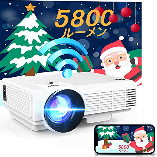DR.J Small WiFi Projector, 5,800 lm (720P Native), Directly Connect to Smartphone, No Replacement Cable Required, 200 inch Ultra Large Screen, Built-in 2 Hi-Fi Speakers, Connects to Smartphones, Tablets, PCs, TV Sticks, Game Players, DVD Players, etc.