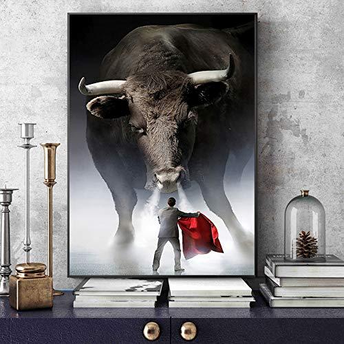 wZUN Decoración Moderna del hogar Matador Arte taurino Pintura sobre Lienzo Arte Mural Carteles e Impresiones imágenes de Animales Sala de Estar 50X75 CM