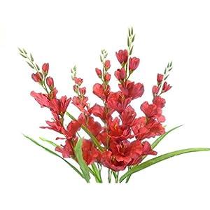 "Silk Flower Arrangements Gladiolus Bush Artificial Silk Flowers 26"" Bouquet 5-5971 RED"