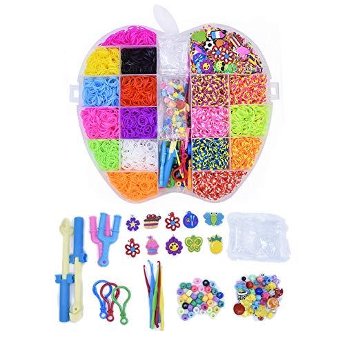 5000pcs Gomas Loom Bandas Conjunto, Gomas para Hacer Pulseras De Colores con Bandas De Telar Pulsera Collar Herramienta De Tejer para Niños Juguete