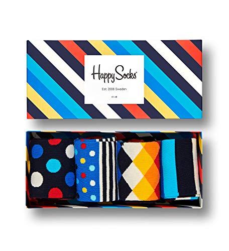 Happy Socks – Gemischt farbenfrohe Geschenkbox an Baumwollsocken für Männer & Frauen, Stripe Gift Box, 36-40