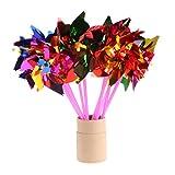 Cold Toy 10unidades Plástico Molino de viento Wind Cilindro de viento Spinner juguete para niños Jardín Césped Party Decor