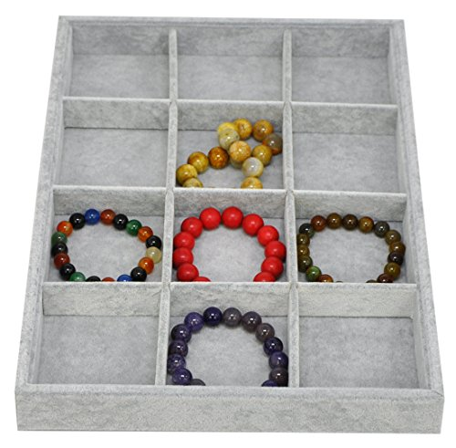 12 Grids Velvet Jewelry Tray Showcase Display Storage Closet Drawer Organizer