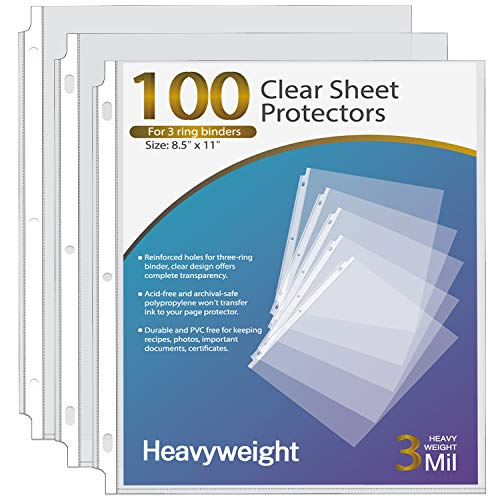 Ktrio Heavyweight 3 Mil Sheet Protectors 8.5 x 11 Inches, Clear Page Protectors for 3 Ring Binder, Plastic Sleeves for Binders, Top Loading Paper Protector Letter Size, 100 Pack