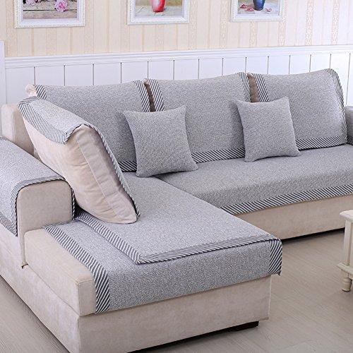 Schnittsofa werfen Abdeckung pad Baumwolle und leinen Sofa möbel Protector für Haustiere Kinder Anti-rutsch Slipcovers l, U-Form Verdicken sie Couch Abdeckung-1 stück-D 28x28inch(70x70cm)