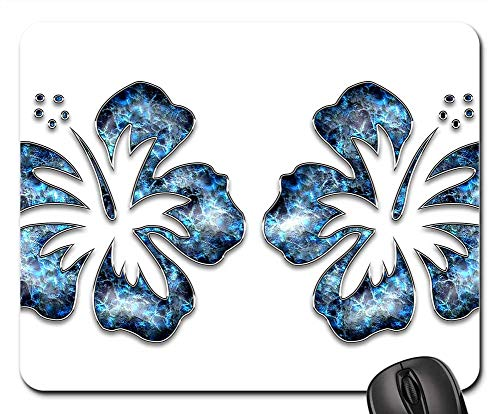 Mouse Pad - Decor Ornament Blue Jewelry Flower Hibiscus 3