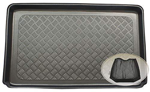 ZentimeX Z3342251 Geriffelte Kofferraumwanne fahrzeugspezifisch + Klett-Organizer (Laderaumwanne, Kofferraummatte)