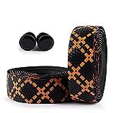 LIZHOUMIL 2 rollos de cinta antideslizante para manillar de bicicleta, con tapones reflectantes, color negro y naranja